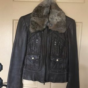 Leather Jacket w/ Faux Fur